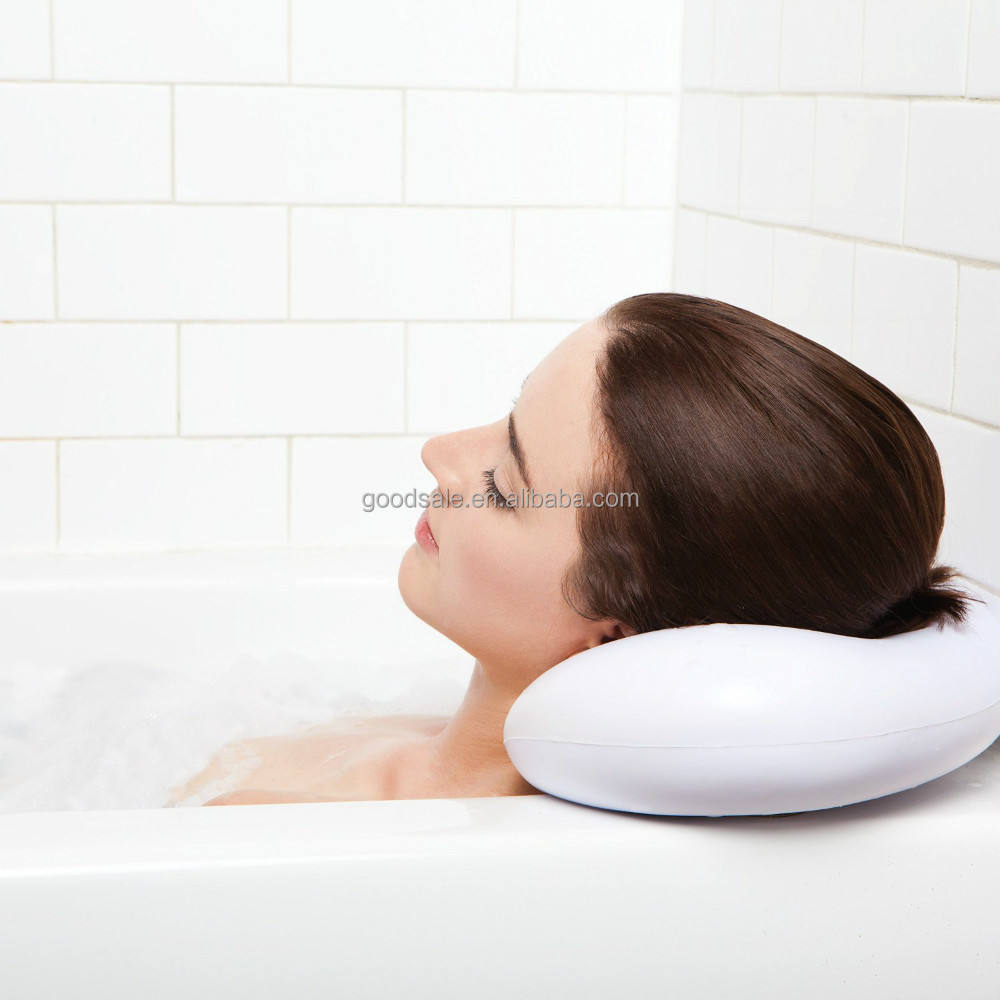Luxury Wholesale PU Soft Spa Bath Pillow with Heavy Duty Suction Cups