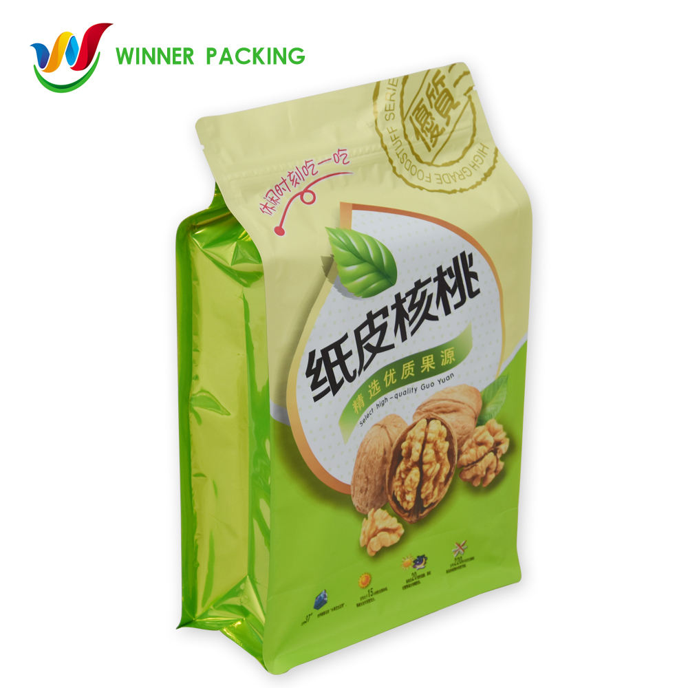 HOT SALE PLASTIC FOOD GRADE LAMINATED GRAVURE OWN LOGO PRINTING PACKAGING BAG WITH FLAT BOTTOM FOR CASHEWNUT WALNUT