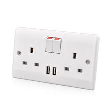 Hotel luxury UK 13amp electrical power wall socket with usb charger