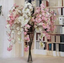 Factory Artificial Hanging Silk White Cherry Blossoms Flower Branches