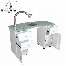 nail salon furniture glass top white manicure table for nail shop