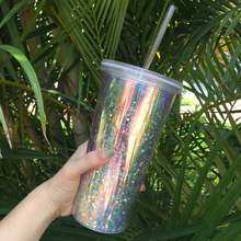 Wholesale Personalized Double Walled Custom Logo 20oz Plastic Insulated Acrylic Magic Glitter Tumbler Cups