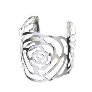 Metal Rose Flower Napkin Ring Holders Silver For Wedding, Birthday, Anniversary, Christmas, New Year, Party Table Decoration