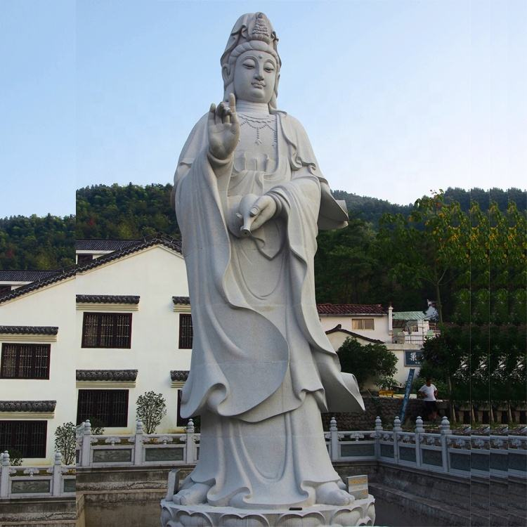 Outdoor marmeren guan kuan yin boeddha steen goddess of mercy standbeeld