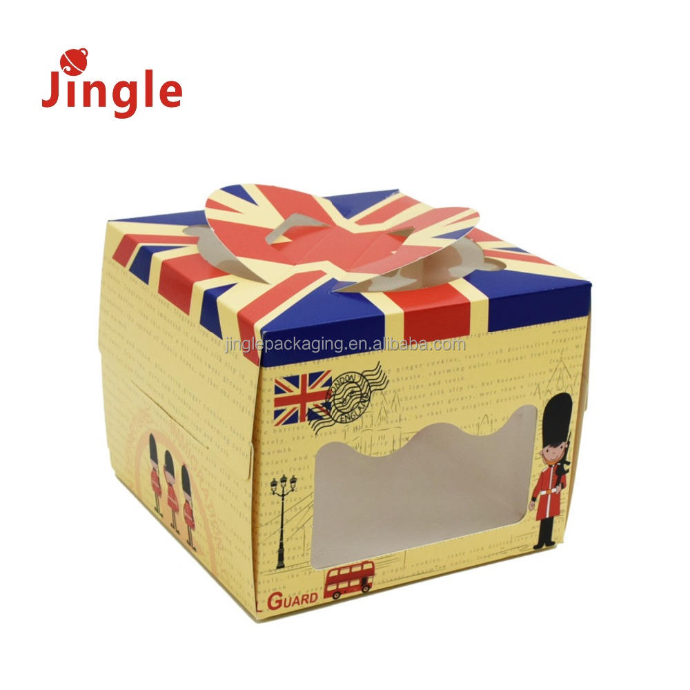 2018 4inch vintage cheese portable cake box with open window