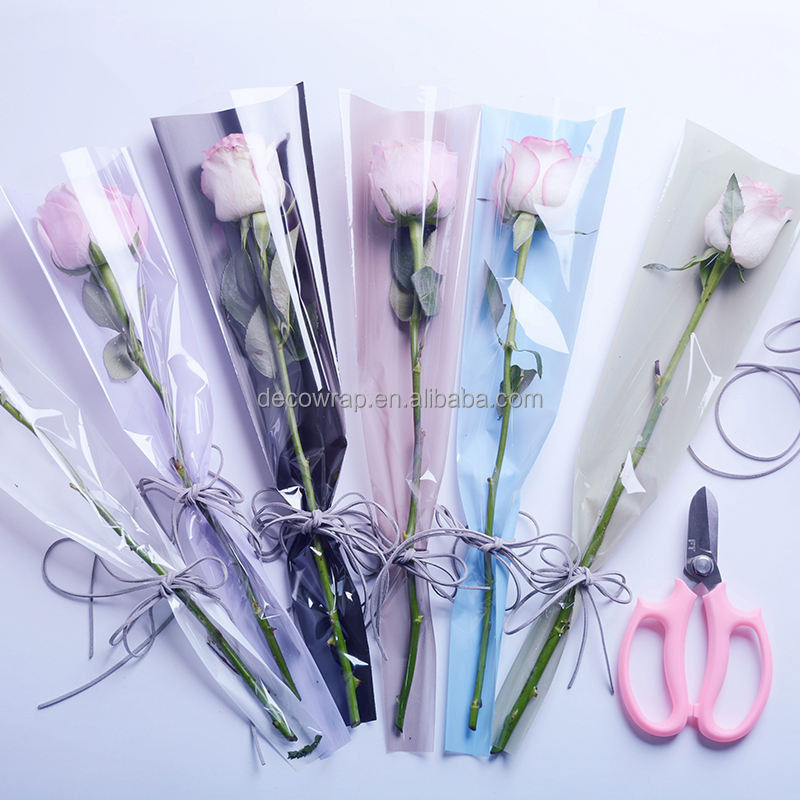 OPP Transparent Single Flower Wrapping Sleeve