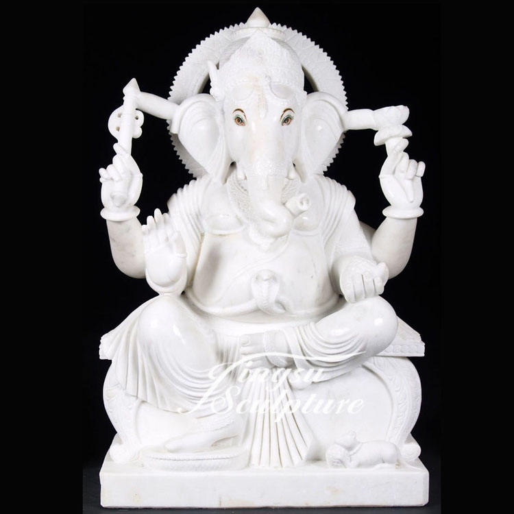 Religious Decoration White Stone Carving Ganesh Statue