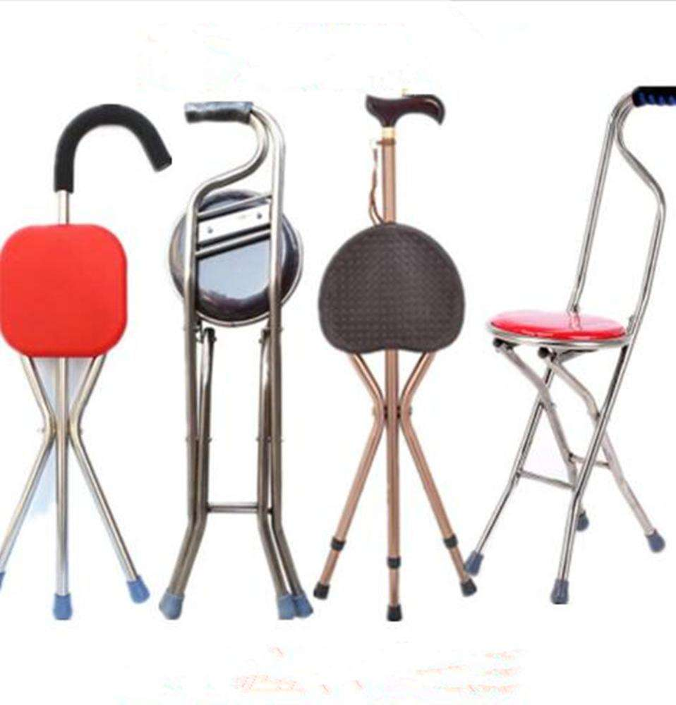 Aluminum alloy Folding Tripod Walking Stick with chair