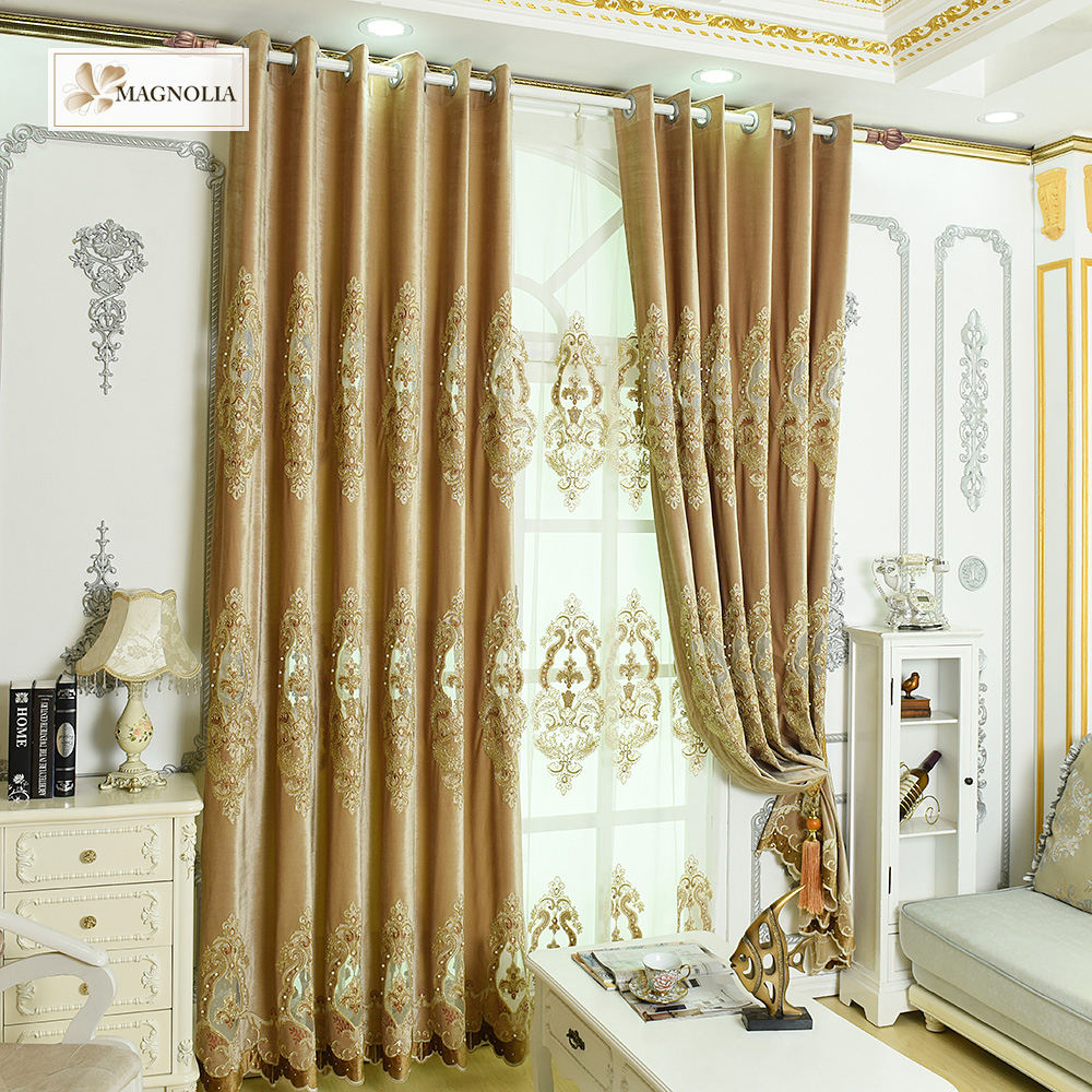 Fashion Designed European Style Voile Room Sheer Embroidered Curtain Fabric