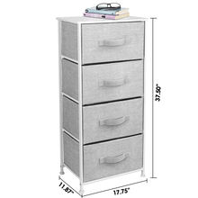 Durable Steel Frame, MDF Wood Top, Vertical Bedroom Dresser Storage Tower with 4 Easy Pull Fabric Drawers