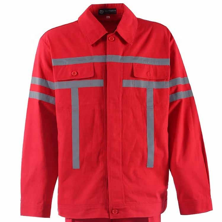 cheap hot sale flame retardant red cotton hi vis reflective safety workwear