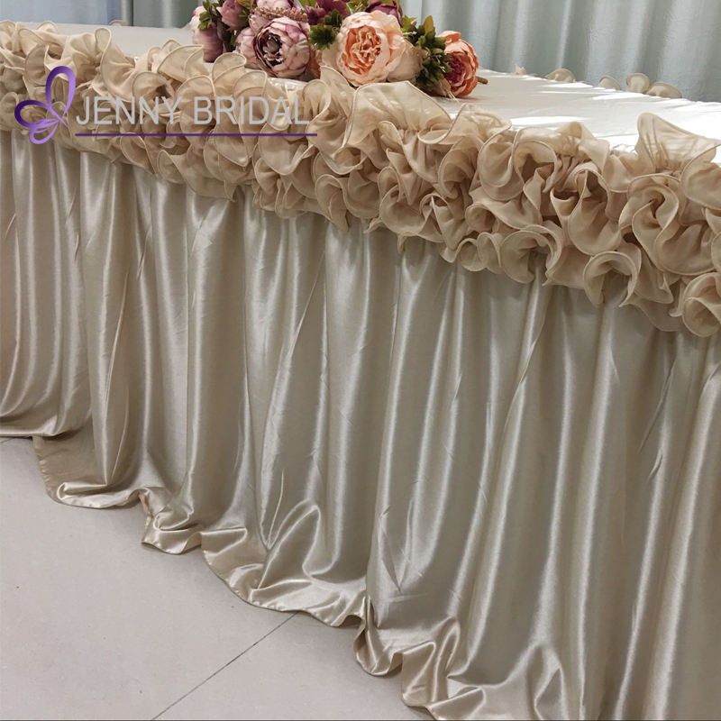 TC005E beautiful chiffon ruffled party table skirt banquet table cloth