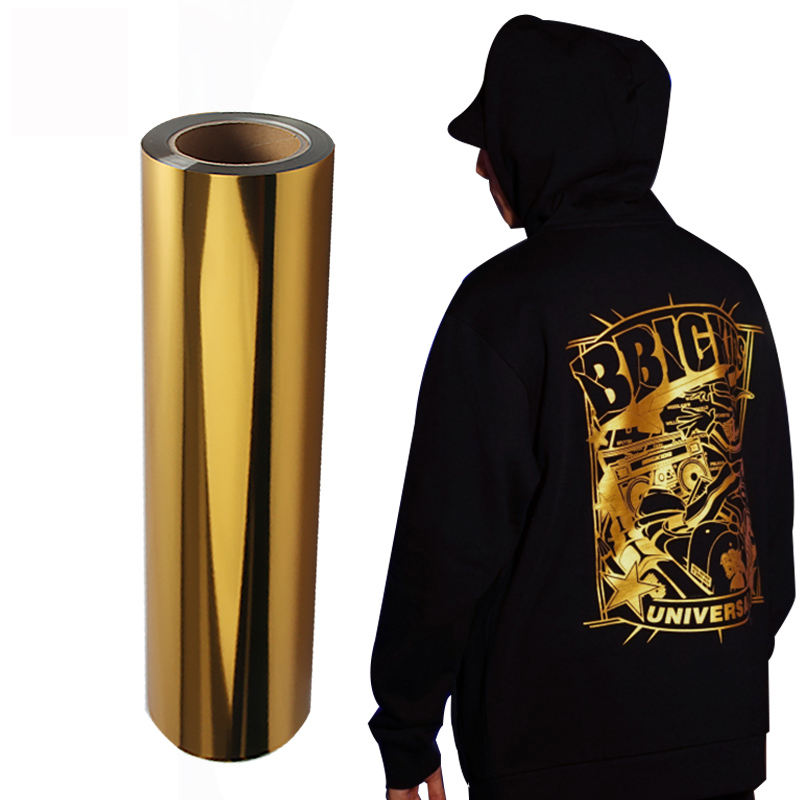 QingYi wholesale pet metallic gold elastic flex foil heat transfer vinyl for clothing