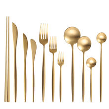 Wedding decoration colored cutlery, gold cutlery set spoon, brushed gold flatware