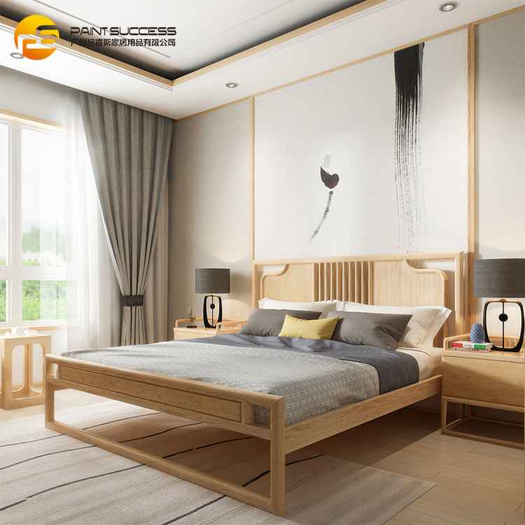 Custom Chinese style bedroom furniture solid wood double bed with fabric upholstered bed board
