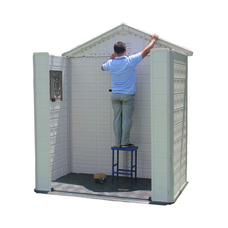 double-room middle size HDPE Plastic outdoor shed for garden storage
