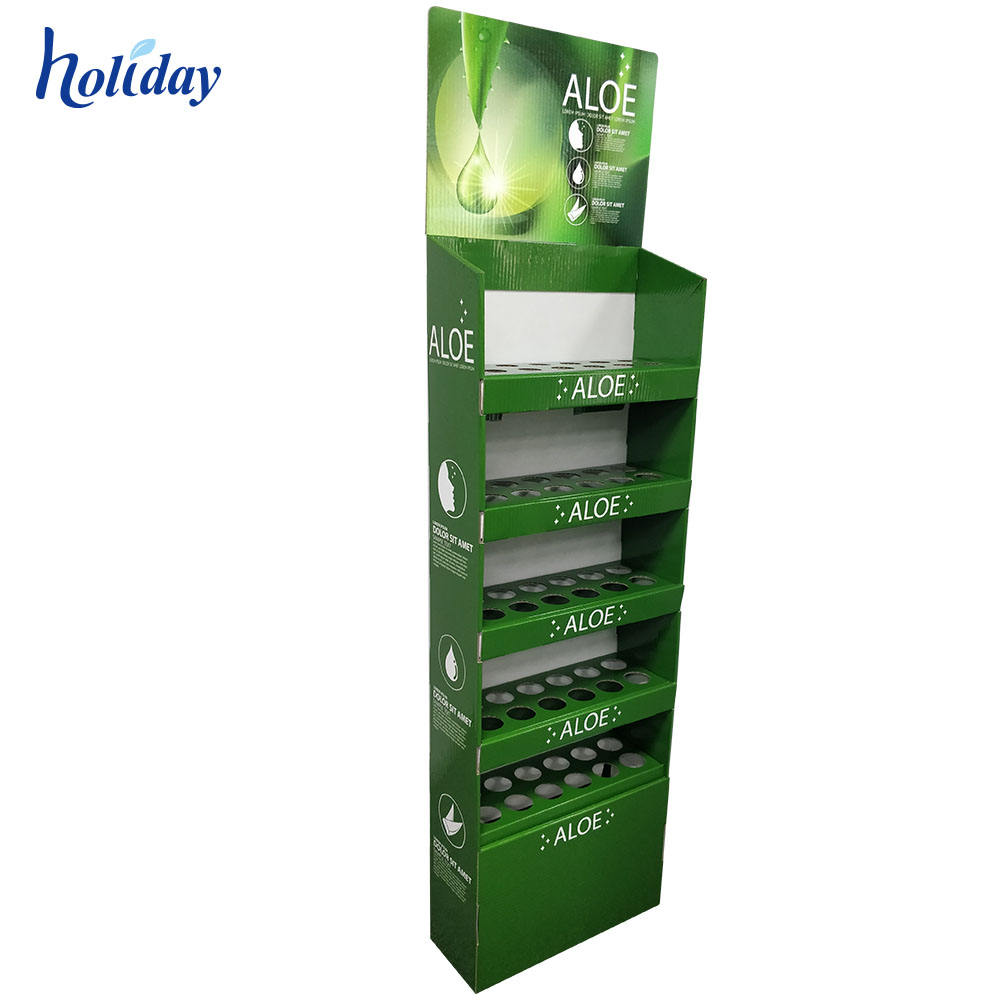 Skincare Cardboard Display Stand With Shelves Heavy and Strong Bear Cardboard Floor Display For Retail