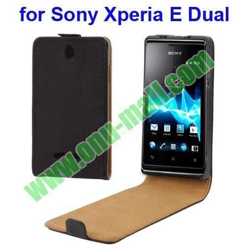 Deft cas en cuir de chiquenaude de conception pour <span class=keywords><strong>Sony</strong></span> Xperia <span class=keywords><strong>E</strong></span> double