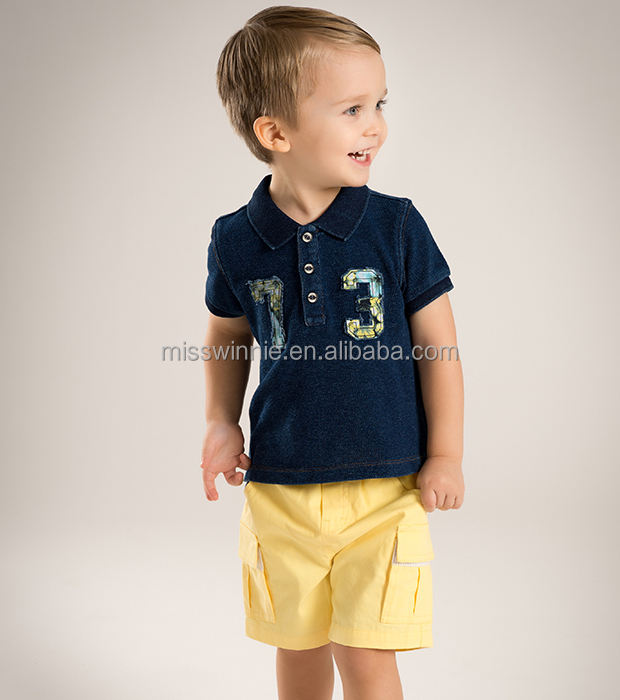 Guangzhou Wholesale baby boy polo-neck t-shirt children's denim color T-shirt custom-made 100% cotton