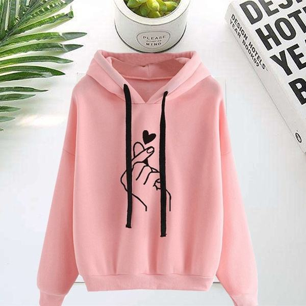 Women Fashion Long Sleeve Solid Color Printed Sweater Hoodies Hooded Pullover Sweatshirts