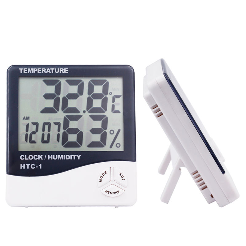 Hygrometer Thermometer Temperature Humidity Meter Alarm Clock Calendar Indoor Outdoor Tester with Large LCD Screen Display