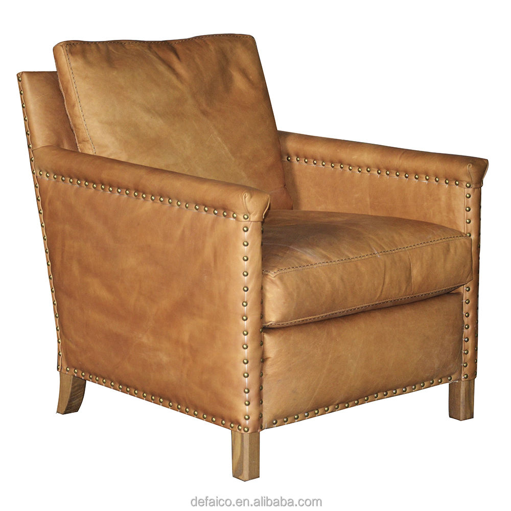 Urban Style Solid Wood Frame Leather Fabric Club TUB Chair with Antique Brass studs Living Room Furniture