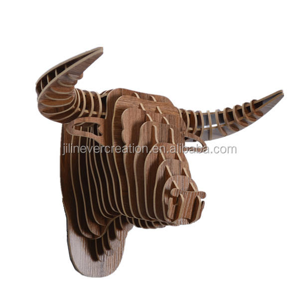 hot selling wooden wall hanging decoration wood animal head