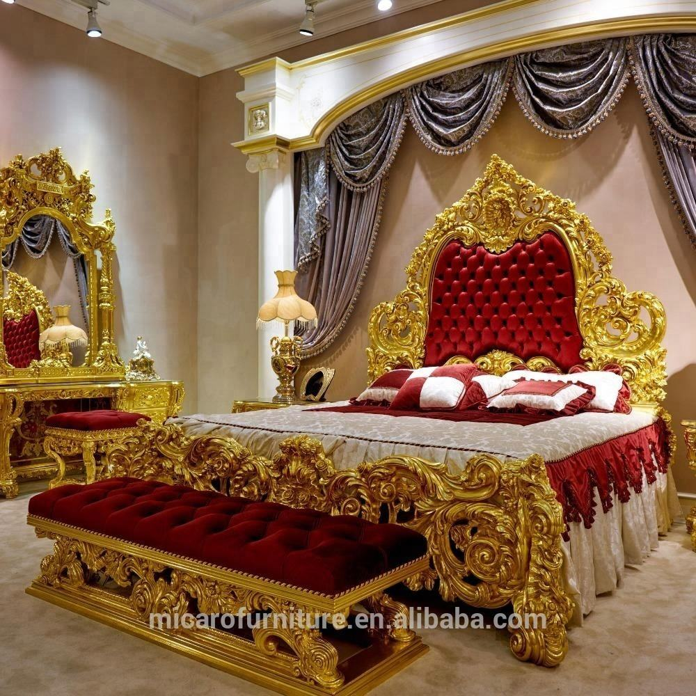 baroque expensive wood hand carved royal furniture gold plated bedroom set with red fabric headboard