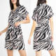 Custom Zebra Printing Clothes Ladies Wear Fashionable Short Sleeve Front Button Up Summer Dresses for Women