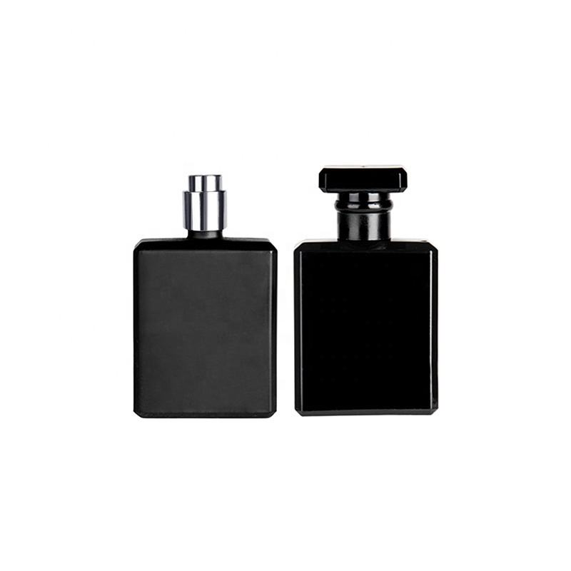 Wholesale 50ml black square customized glass perfume bottle