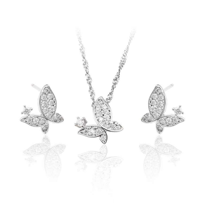 63950 Cubic Zirconia 925 Silver color Jewelry set Fashion Butterfly Jewelry Set
