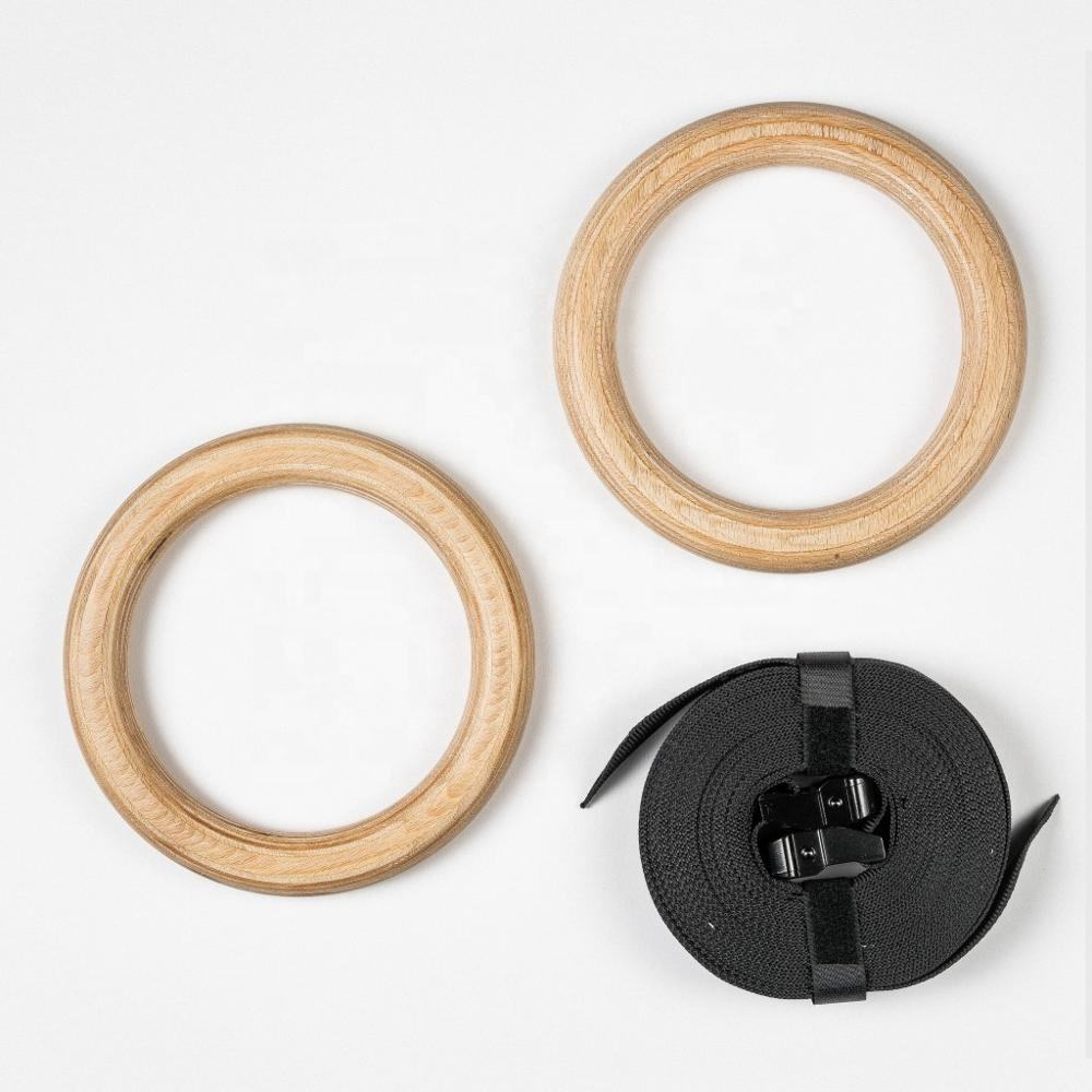 Training wooden power gymnastics rings with quick adjustable straps