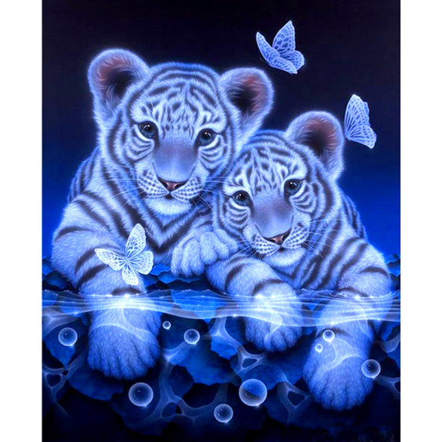 5D DIY Diamond Painting Full circular Diamond Painting Tigers & Butterfly 3D Embroidery Cross Stitch Mosaic Painting