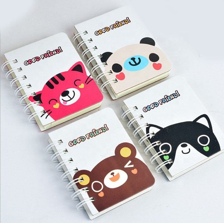Cute animal cartoon cat mini notepad/memo design your personal spiral notebook printing