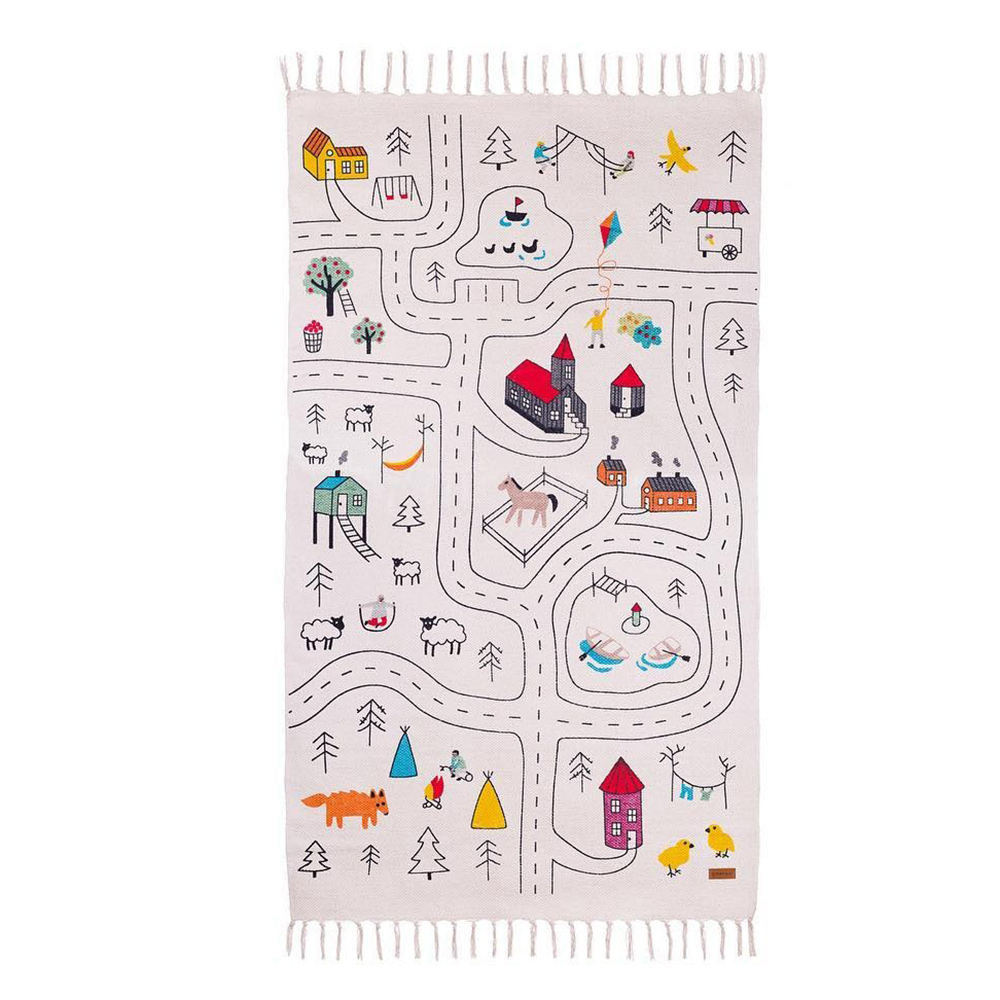 Nordic home children graffiti tassels crawling game mattress baby rectangle carpet toy play mat house decoration