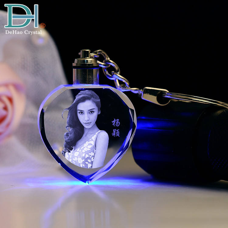 Small Fashion Gifts 3D Laser Engraving LED Keychain Crystal