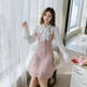 2019 New Arrival Korean Sweet And Beautiful Temperament Waist Collection Lace Fake Two-Piece Dress