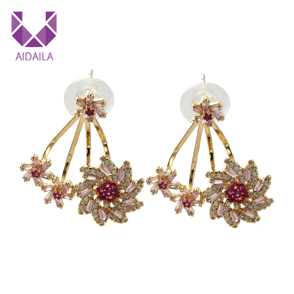 AIDAILA High Quality Unique Design Charm Women Colorful Flower Zircon Jacket Earrings