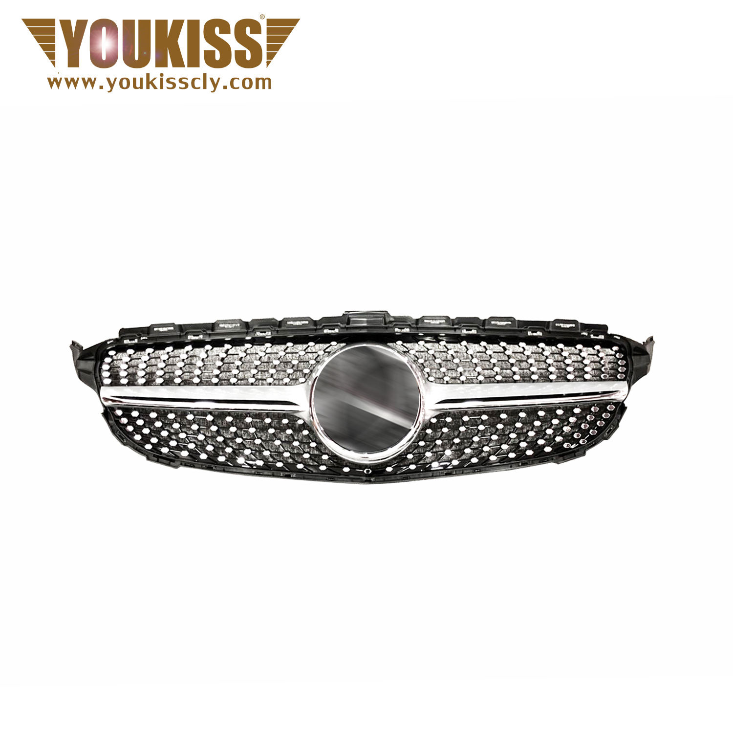 RTS,For benz w205 C CLASS Grille change to Mercedes Benz W205 diamond Style Black high guality general front grille