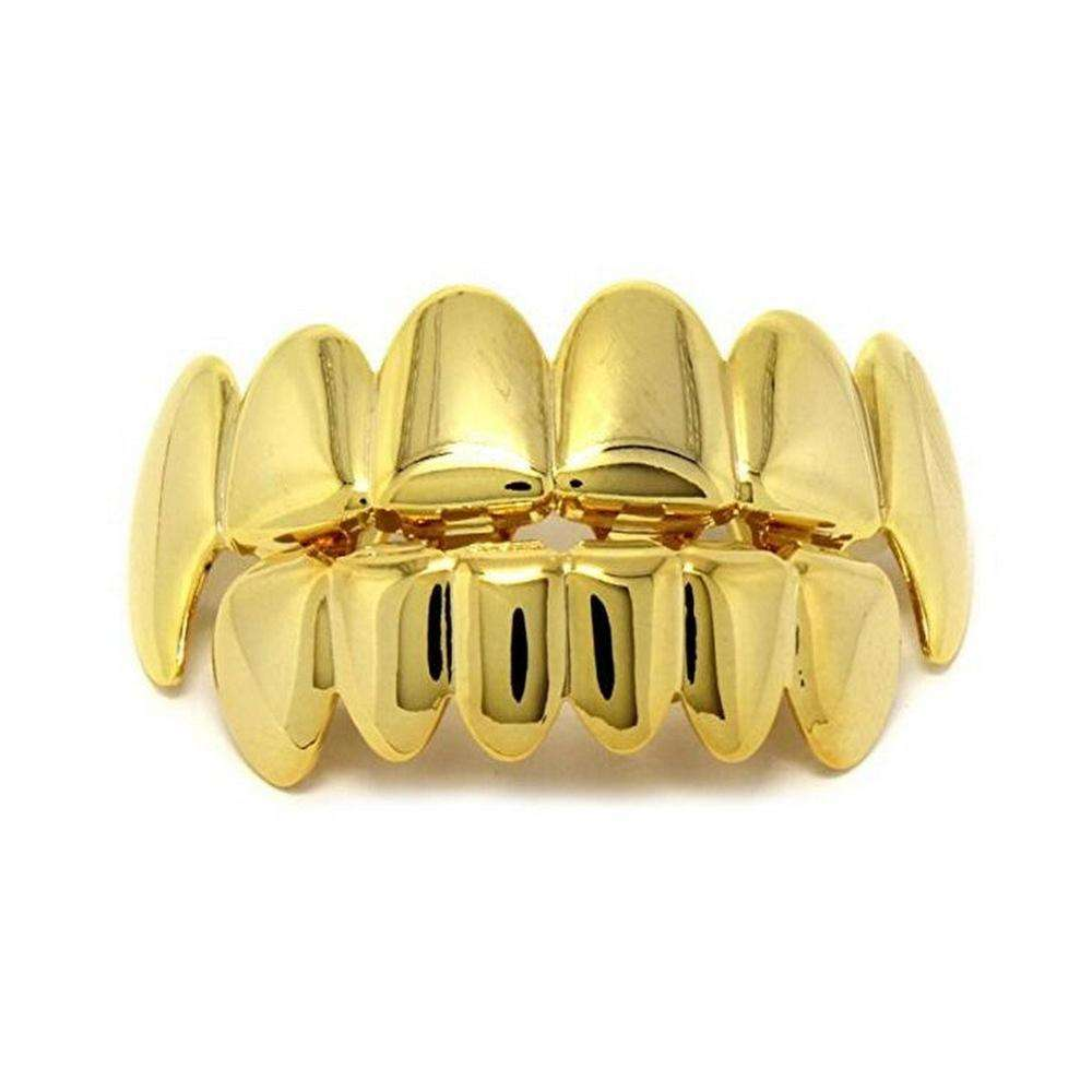 Gold Teeth Grillz Top Bottom Grills Dental Mouth Punk Teeth Caps Cosplay Party Tooth Body Jewelry