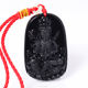 Natural black obsidian carved buddha pendants crystal beads paved around buddha pendant obsidian necklace for women and men