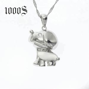 Fashion Animal Dog 925 Silver Jewelry Rhinestone Pendant Necklace