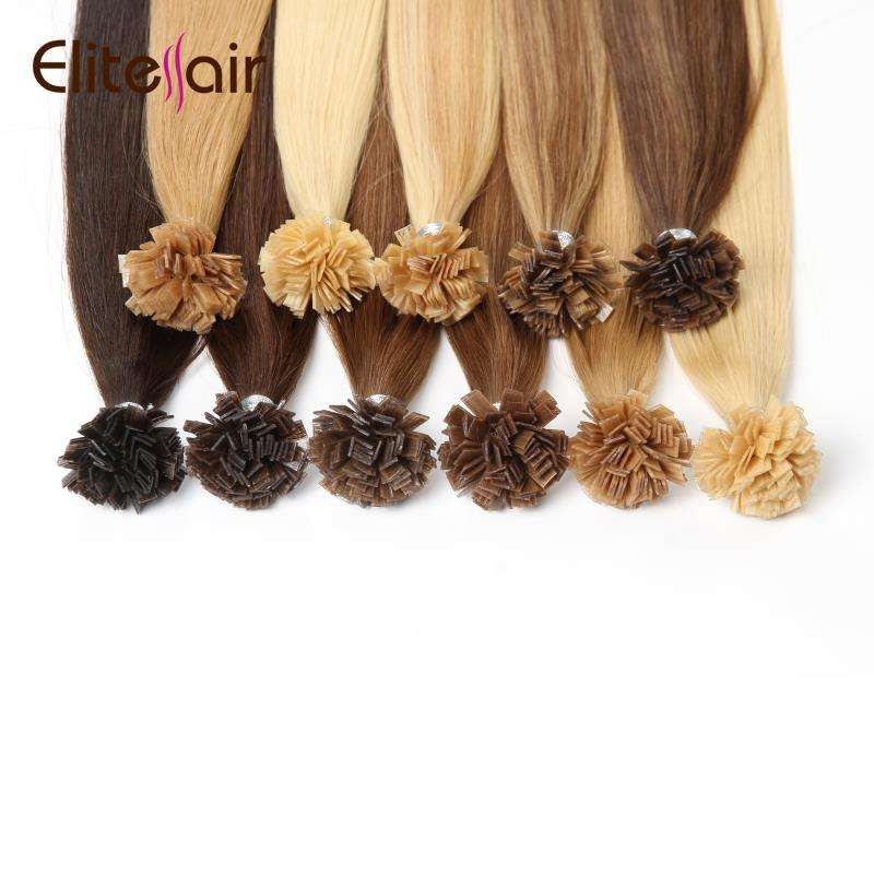 Elite Pre-bonded Keratin Flat Tip Hair Extensions Virgin Remy 100% European Hot Fusion Human Hair Extensions