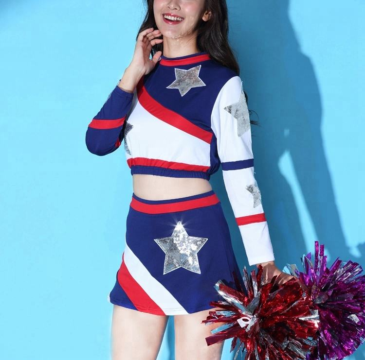 sexy girl new youth spandex long sve cheerleading uniforms