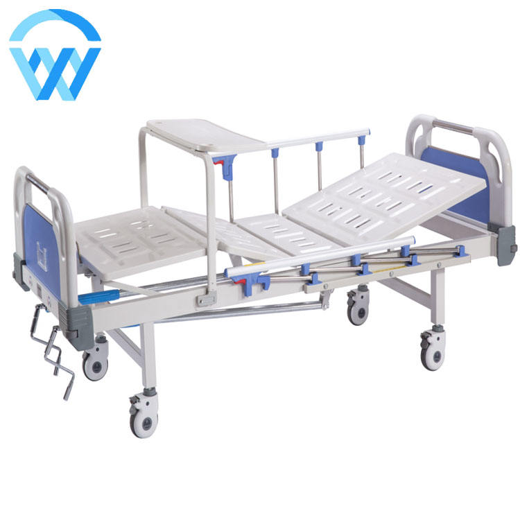 Hot Sale ABS Double shake Nursing Manual Hospital Bed Steel Iron pediatric Home Care hospital bed with 2 Crank