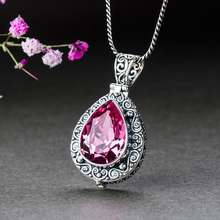 925 Sterling Silver Unique Crystal Gemstone Necklaces Pendant for Women Girls Jewelry Gift