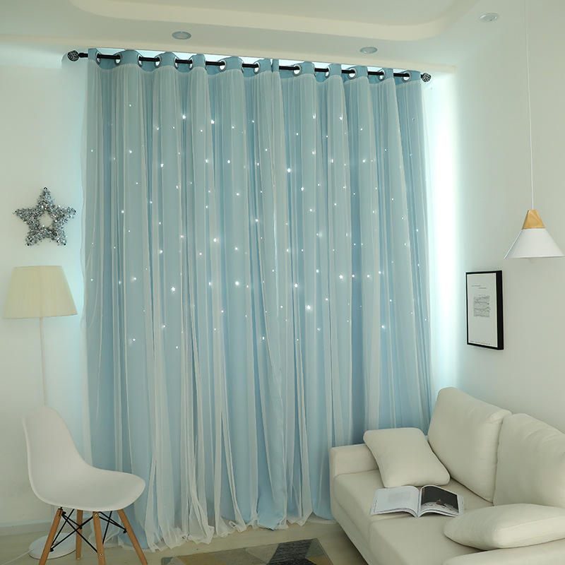Lovely Blue Korean Style Princess Star Baby Room Blackout Curtain Sets Window Curtain For Kids Bedroom