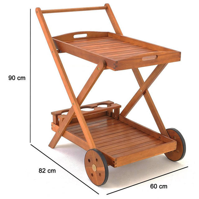 Retro Bamboo Wooden Kitchen Tea Trolley