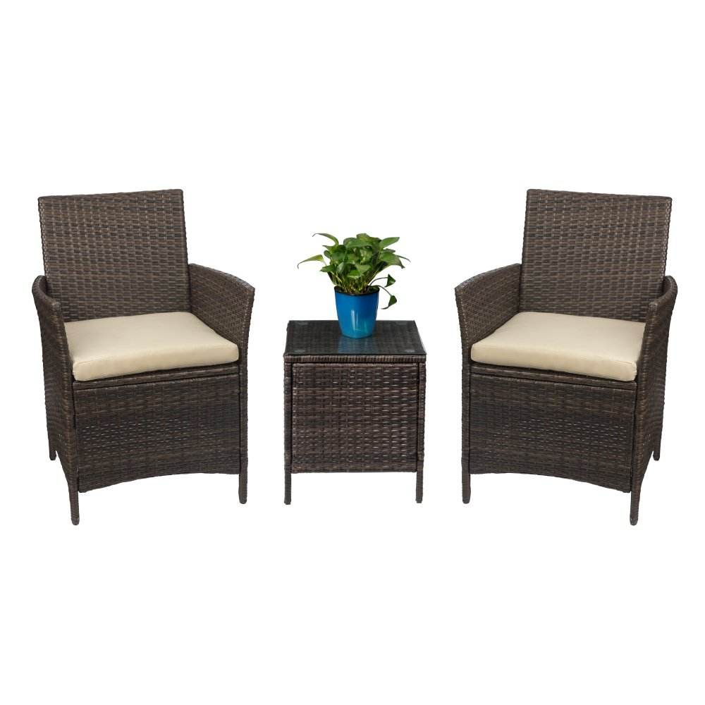 All Weather 3 Pieces Rattan Garden Furniture Set Cheap Wholesale Wicker Garden Bistro Chair Outdoor Rattan Bistro Set