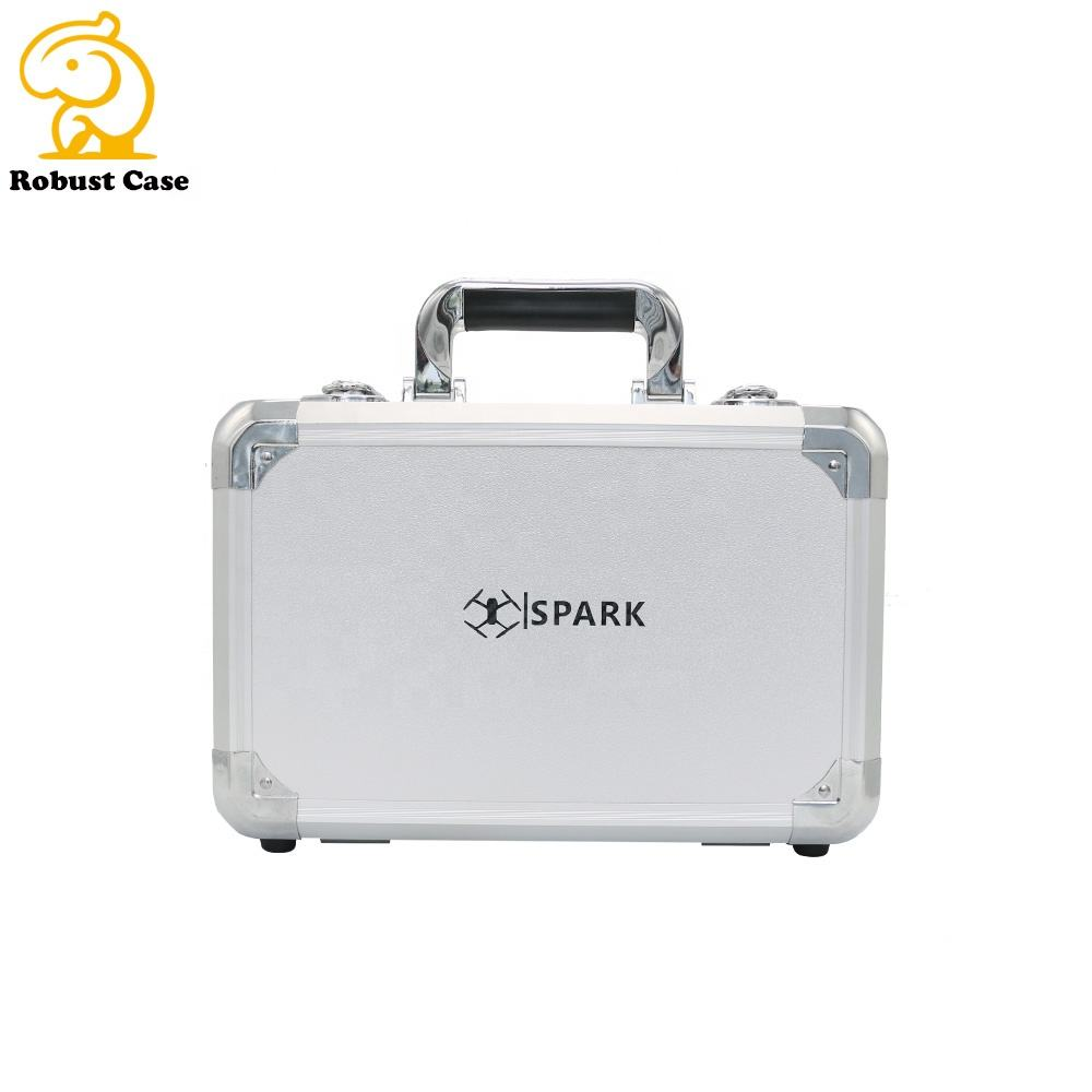 Aluminum Sliver Tool Carrying Box Heavy Aluminum Tool Box Storage Brief Case with Foam